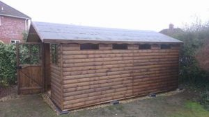18ft x 10ft Cabin with 18inch roof overhang.